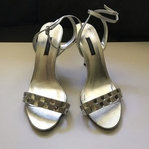 Rhinestone and silver metallic strapped sandals